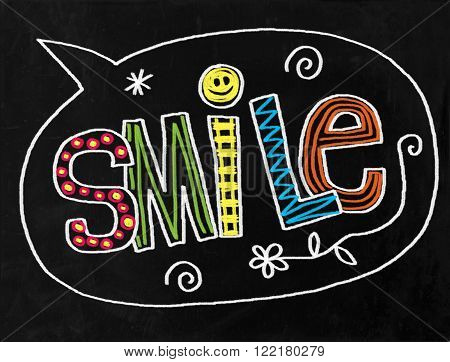 A digitally created chalkboard with hand drawn text which says SMILE.