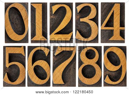 a set of isolated 10 numbers from zero to nine - vintage letterpress wood type printing blocks
