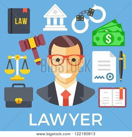 Lawyer and judicial system icons set. Jurisprudence, juvenile justice system, law icons. Flat design graphic elements for web banners, printed materials, web sites, infographics. Vector illustration