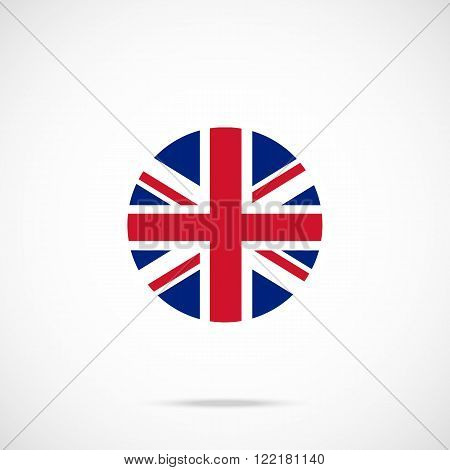 United Kingdom flag round icon. UK flag icon with accurate official color scheme. Premium quality british flag in circle. Vector icon isolated on gradient background