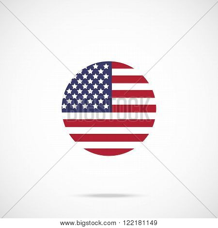 American flag round icon. US flag icon with accurate official color scheme. Premium quality flag of the United States in circle. Vector icon isolated on gradient background