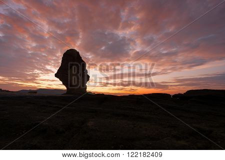 Sunrise of Batu Payung (Umbrella Rock) at Tanjung Ann Beach, Lombok, Indonesia.