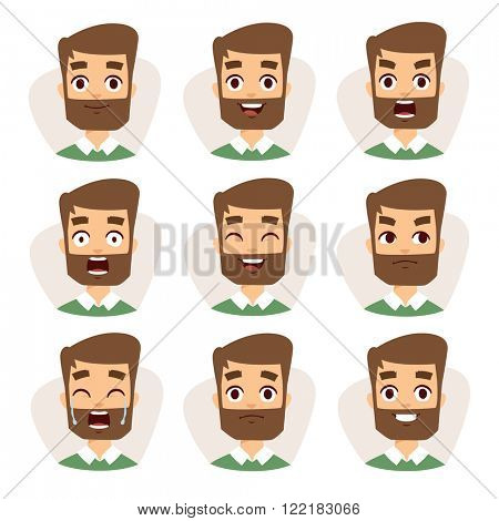 Beard man emotions and avatar beard man characters emotions. Faces vector characters mosaic of young beard man expressing different emotions icons.