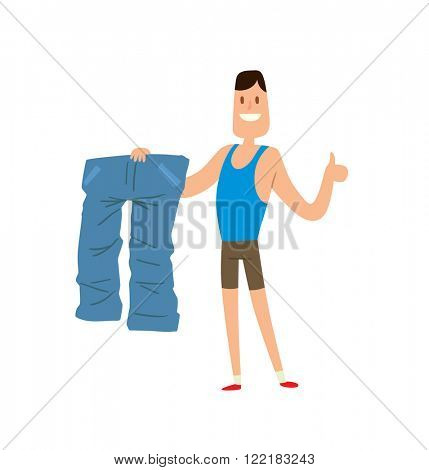 Before and after weight loss man is happy by achievement, weight loss lifestyle people vector. Man shows his weight loss by wearing an old jeans flat vector illustration.