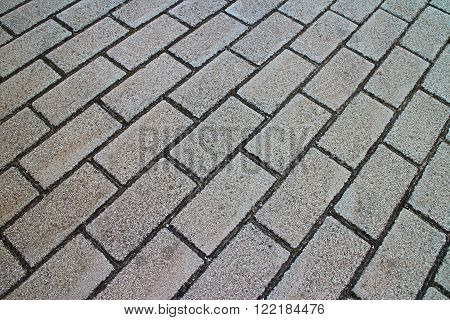 Full frame brick pavement close up from low tilted angle in horizontal 3:2 format.