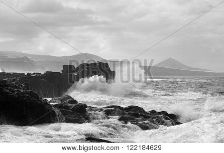 Foaming Waves By The Shore At North Of Gran Canaria