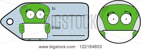 funny alien expression cartoon gift card sticker in vector format