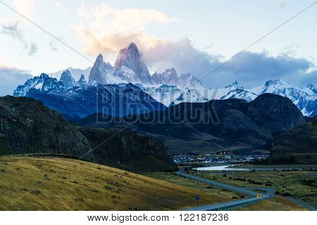 Fitz Roy mountain and El Chalten Village in the evening ** Note: Soft Focus at 100%, best at smaller sizes