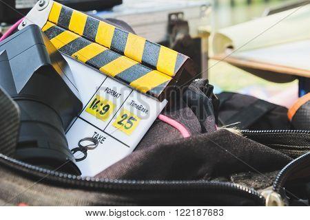behind the scene, Film Slate on set