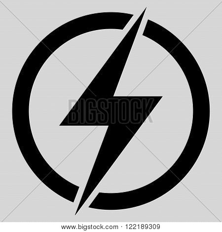 Electricity vector icon. Picture style is flat electricity icon drawn with black color on a light gray background.