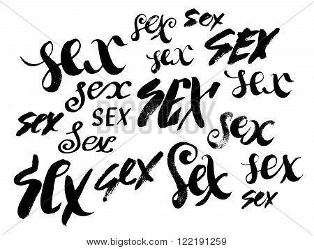 Sex. Hand drawn lettering. Serigraphy shirt print. Brush lettering