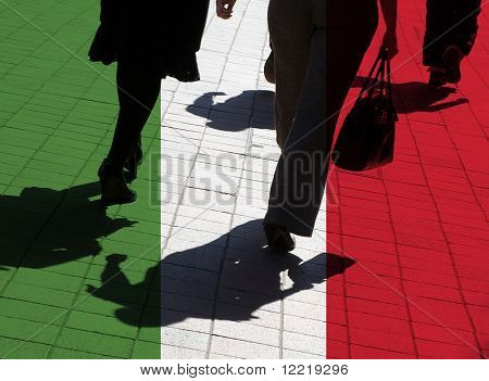 Italian flag overlaid over silhouetted pedestrians
