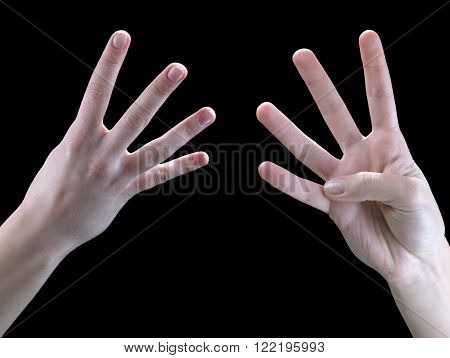 Sign language hands on a black background four