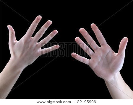 Sign Language hands on a black background five