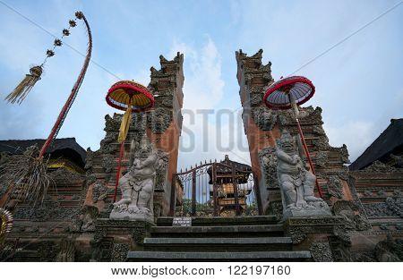The Pura Padang Kerta Temple entrance in Ubud town, Bali Island.