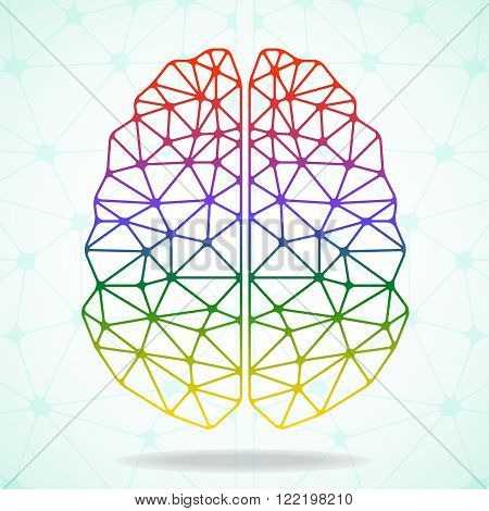 Abstract geometric brain network connections. Vector illustration. Eps 10