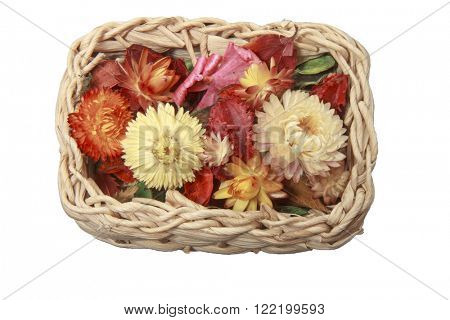Small wood basket with flowers
