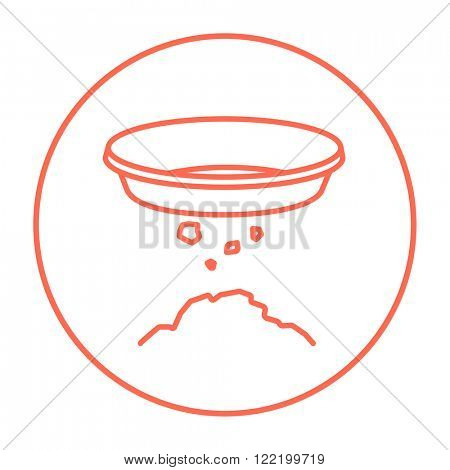 Bowl for sifting gold line icon.
