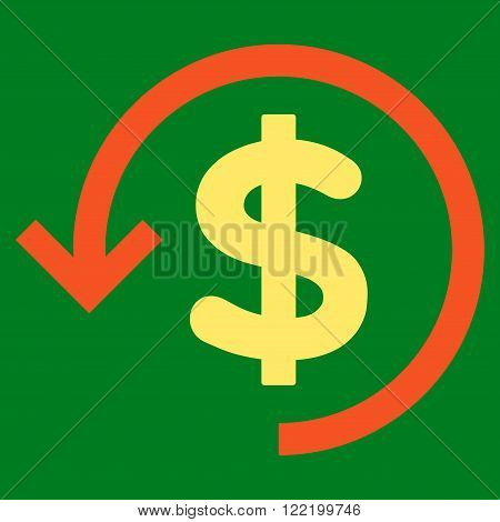 Rebate vector icon. Picture style is bicolor flat refund icon drawn with orange and yellow colors on a green background.