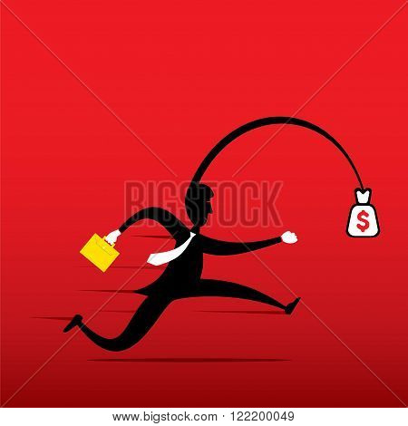 profit seeking, men run fo catch money concept design vector