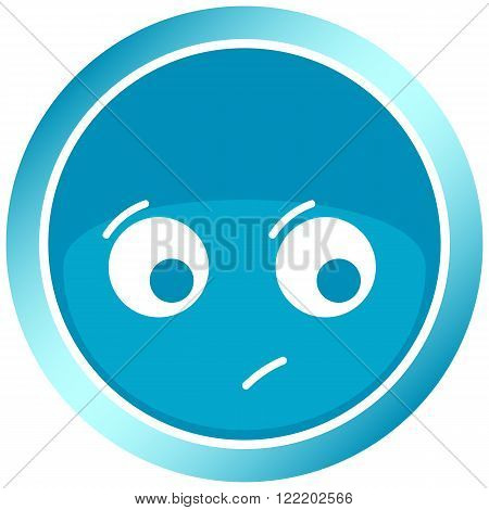 Icon the button of blue color with dissatisfied with a gloomy face