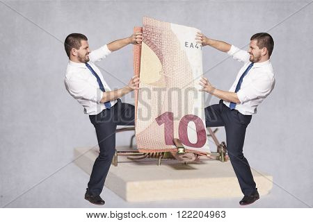 Two Businessmen Fighting For Money