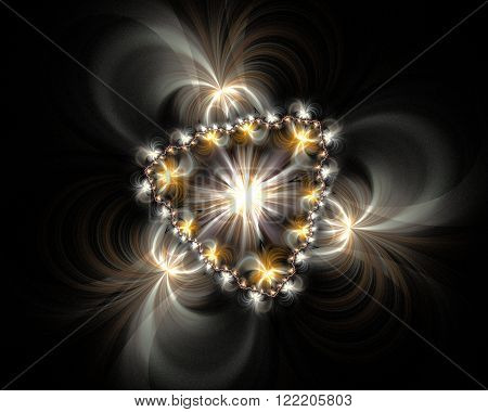 Abstract Fractal Design. Jewellery Pattern On Black.