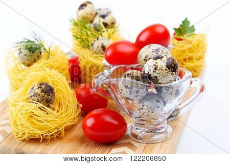 Glass Gravy Boat With Quail Eggs.