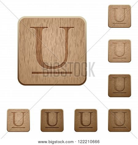 Set of carved wooden Underlined font buttons in 8 variations.