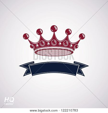 Vector imperial crown with undulate ribbon. Classic coronet with decorative curvy band. King regalia design element isolated on white background. poster