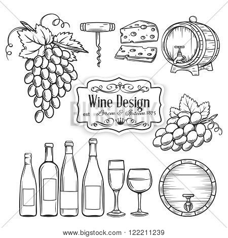 Hand draw wine icons set on white. Decorative wine icons . Monochrome icons wine in old style for the design of wine labels cards brochures. Wine vector illustration.