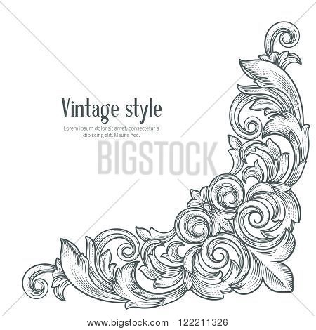 Vintage baroque corner. Retro  frame scroll  acanthus foliage swirl ornament engraving border.  Decorative  corner retro  design element. Corner hand draw vector.