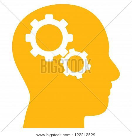 Brain Preferences vector icon. Picture style is flat brain gears icon drawn with yellow color on a white background.