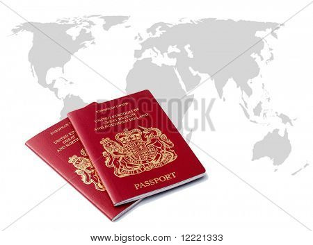 Two UK passports over outline map of world