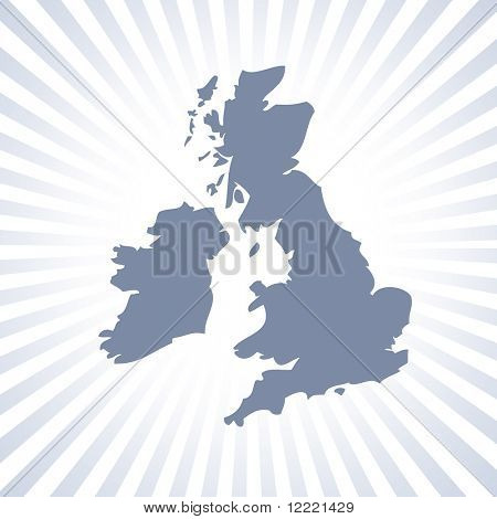 Outline map of UK and Eire over stripe pattern poster