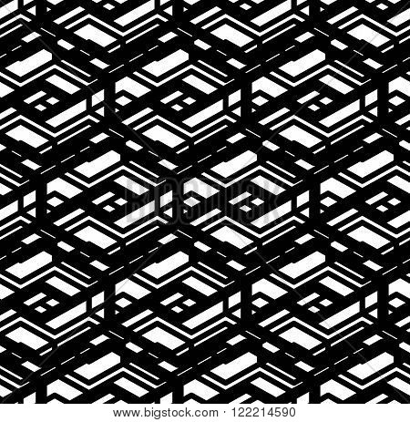 Black and white geometric art seamless pattern vector mosaic monochrome grungy background. Symmetric splicing net artificial backdrop.