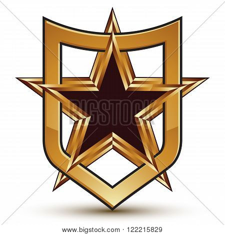 Renowned Vector Golden Star Emblem Placed In A Shield, 3D Pentagonal Refined Design Element, Clear E