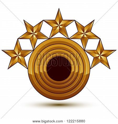 Sophisticated Vector Emblem With 5 Golden Stars, 3D Decorative Design Element With Black Copy Space,