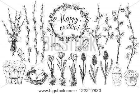 Hand drawn easter deasign elements set. Easter wreath easter willow bouquet branches grape hyacinths bird nest easter eggs easter cake bird feathers. Happy easter hand lettering.