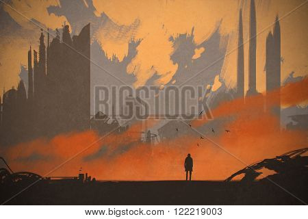 man standing at abandoned city, illustration painting