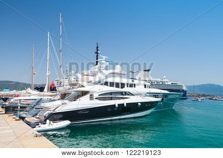 Luxury Pleasure Yachts Moored In Ajaccio Port