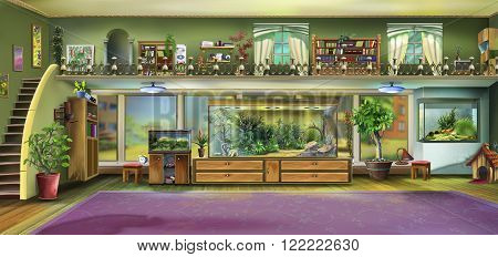 Home Interior with Aquariums and terrariums. Digital painting.