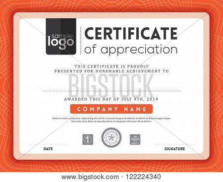 Modern red certificate background frame design template
