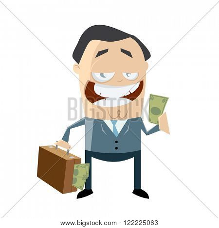 corrupt businessman with money in his bag