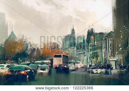painting of city street view with traffic, Shanghai The Bund