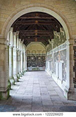 WINCHESTER, UK - FEBRUARY 07, 2016: War cloister at Winchester College. this cloister serves as a memorial to the Wykehamist dead of the two World Wars. February 07, 2016 in Winchester, UK.