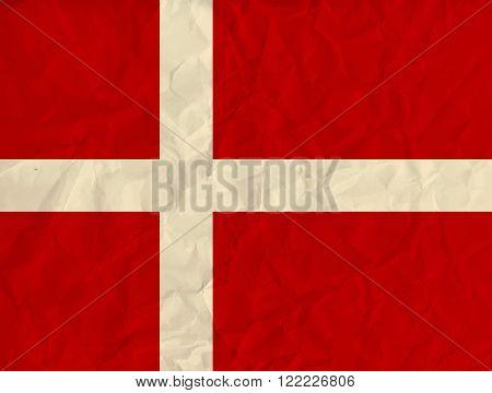 Vector image of the Denmark paper  flag