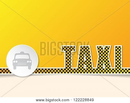 Checkered taxi text on orange background template design with white taxi badge