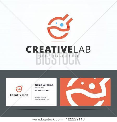 Logo and business card template for creative studio. Medical logo. Chemical logo. Laboratory equipment vector logo. Lab logo. Science logo.