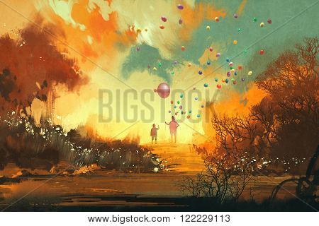 boy and magician holding balloon standng on a path of fantasy land, illustration